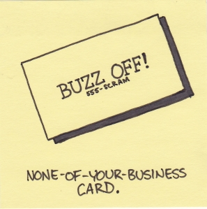 none of your business card